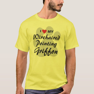 T-shirt J'aime (coeur) mon griffon de pointage à poils