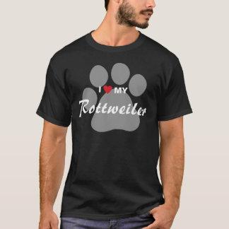 T-shirt J'aime (coeur) mon rottweiler Pawprint
