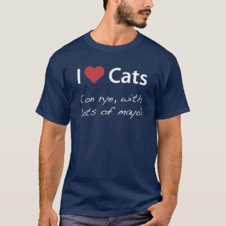 T-shirt J'aime des chats (sur le seigle, avec un bon