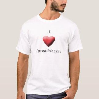 T-shirt J'aime des feuilles de calcul