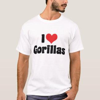 T-shirt J'aime des gorilles de coeur - amant de gorille