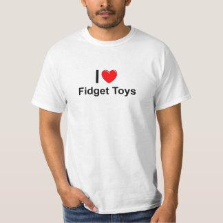 T-shirt J'aime des jouets de personne remuante de coeur