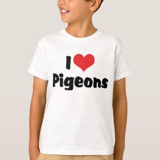 T-shirt J'aime des pigeons de coeur - amant d'oiseau