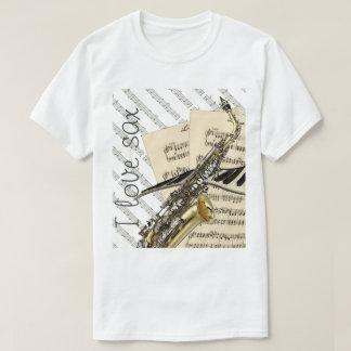 T-shirt J'aime la conception drôle de musique de saxo