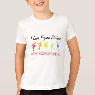 T-shirt J'aime l'arc-en-ciel de filles de patinage