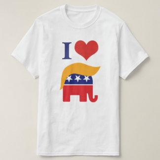 T-shirt J'aime l'atout - logo de cheveux d'éléphant de GOP