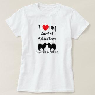 T-shirt J'aime mes deux chiens esquimaux américains