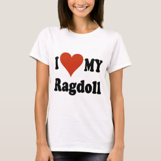T-shirt J'aime mes marchandises de chat de Ragdoll