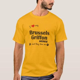 T-shirt J'aime mes mélanges de griffon de Bruxelles (les