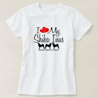 T-shirt J'aime mes trois chiens de Shiba Inu