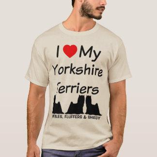 T-shirt J'aime mes TROIS chiens de Yorkshire Terrier