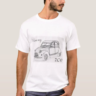 """T-shirt """"J'aime mon 2-CV"""". Croquis de Citroen 2-CV sur le"""
