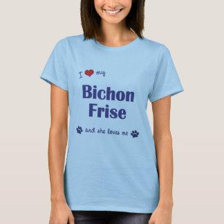 T-shirt J'aime mon Bichon Frise (le chien femelle)