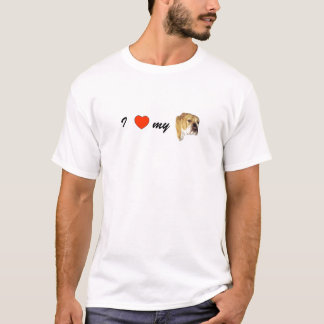 T-shirt J'aime mon bouledogue anglais