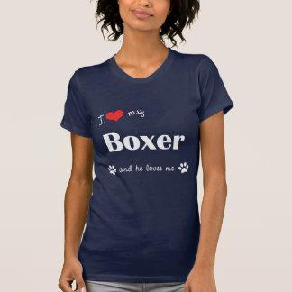 T-shirt J'aime mon boxeur (le chien masculin)