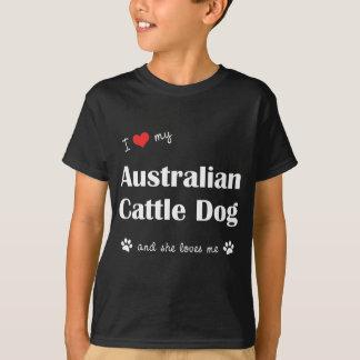 T-shirt J'aime mon chien australien de bétail (le chien