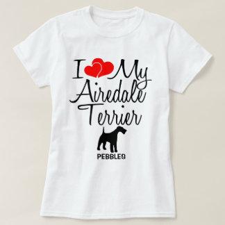 T-shirt J'aime mon chien d'Airedale Terrier