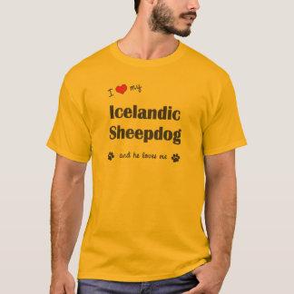 T-shirt J'aime mon chien de berger islandais (le chien