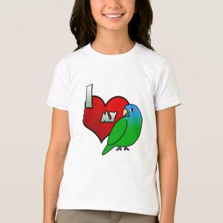 T-shirt J'aime mon Conure couronné par bleu
