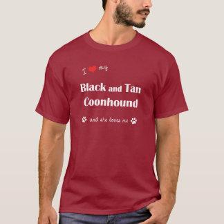 T-shirt J'aime mon Coonhound noir et bronzage (le chien