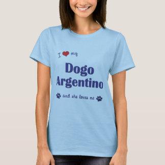 T-shirt J'aime mon Dogo Argentino (le chien femelle)
