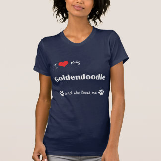 T-shirt J'aime mon Goldendoodle (le chien femelle)