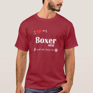 T-shirt J'aime mon mélange de boxeur (le chien femelle)