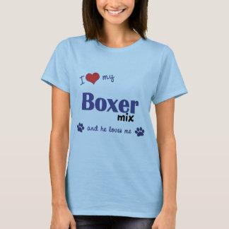 T-shirt J'aime mon mélange de boxeur (le chien masculin)