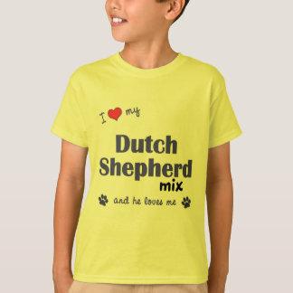 T-shirt J'aime mon mélange néerlandais de berger (le chien