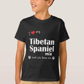 T-shirt J'aime mon mélange tibétain d'épagneul (le chien