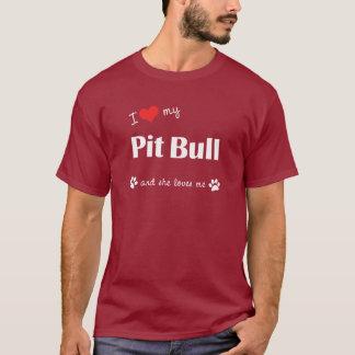 T-shirt J'aime mon pitbull (le chien femelle)