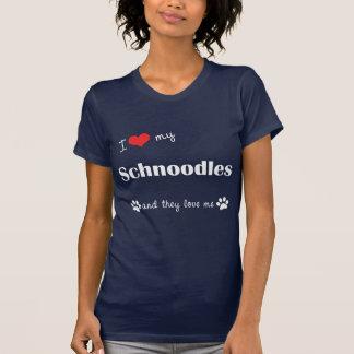 T-shirt J'aime mon Schnoodles (les chiens multiples)