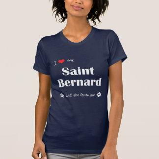 T-shirt J'aime mon St Bernard (le chien femelle)