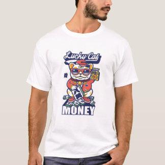 T-shirt Japonais chinois de chat chanceux d'argent de