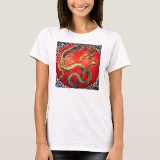 T-shirt japonais de dragon d'or de Hokusai