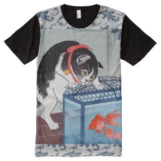 T-shirt japonais vintage de vague d'art de chat et