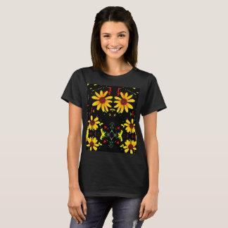 T-shirt jaune abstrait de fleur - noir