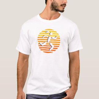 T-shirt jaunes femelles de cercle de coureur