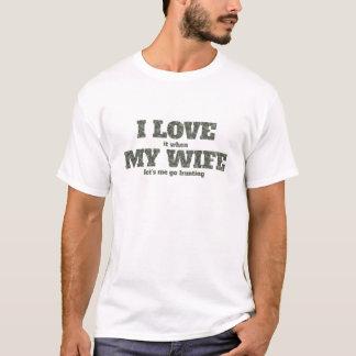 T-shirt Je l'aime quand mon épouse nous a laissés j'aller