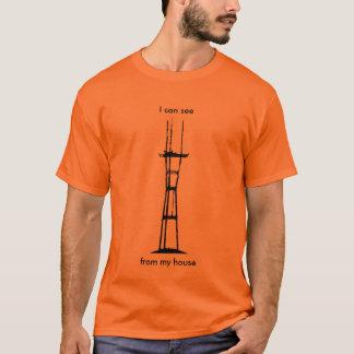 T-shirt Je peux voir Sutro de ma maison (le noir sur la