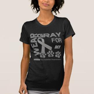 T-shirt Je porte le gris pour ma conscience de diabète