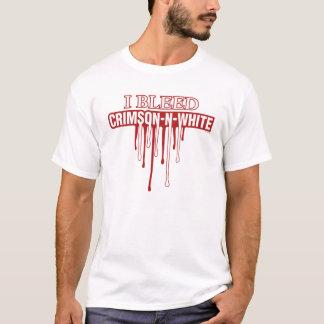 T-shirt Je saigne le cramoisi et le blanc