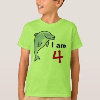 T-shirt Je suis 4 années aujourd'hui (le dauphin mignon)
