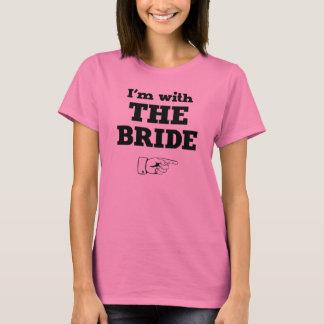 T-shirt Je suis avec la jeune mariée
