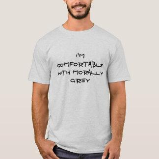 T-shirt Je suis confortable avec moralement gris