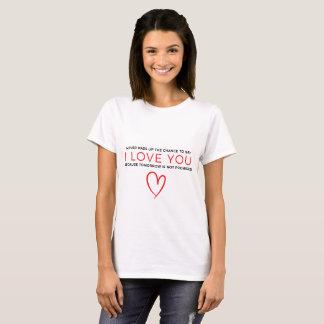 T-shirt Je t'aime typographie noire blanche rouge de