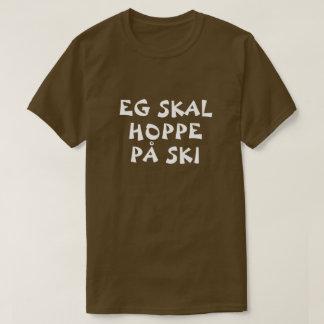 T-shirt Je vais au saut à skis dans le brun norvégien