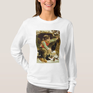 T-shirt Jeune garçon avec des oiseaux dans la neige