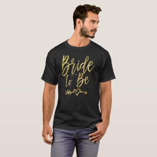 T-shirt Jeune mariée à être pièce en t d'imitation d'or de
