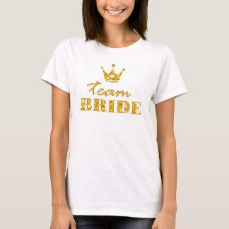 T-shirt Jeune mariée d'or d'équipe de scintillement